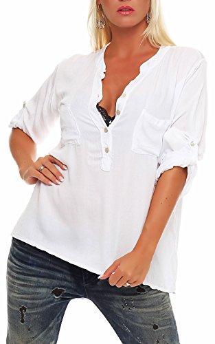malito Camicetta con V-Neck Safari 3/4 Tunica Top Longsleeve Oversize 9015 Donna Taglia Unica Bianco