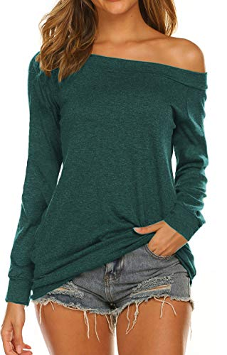 Womens Tops Long Sleeve T Shirt Off the Shoulder Blouse Green S (Apparel Clothing)