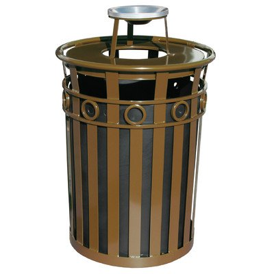 Decorative Steel Trash Receptacle with Flat Top Lid in Green (Ash Urn Lid/Brown) Flat Ash Top Receptacle