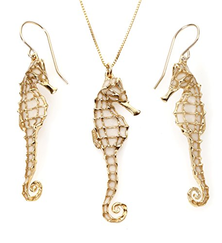 Gold Plated Sterling Silver Seahorse Necklace Pendant and Earrings Cream Polymer Clay Handmade Jewelry Set, 16.5'' Gold filled Chain by Adina Plastelina Handmade Jewelry