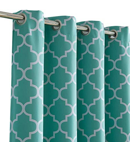 Panel Drapery Thermal - HLC.ME Lattice Print Thermal Insulated Blackout Room Darkening Window Drapery Curtains for Bedroom - Mint Green - 52
