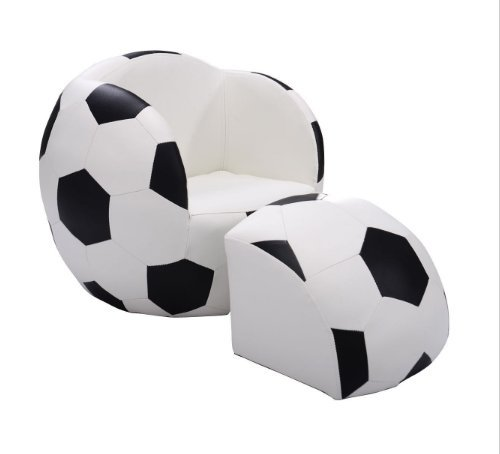 Tv Chairs for Kids Soccer Ball Chair and Ottoman Set Sofa Armrest Couch Children Living Room Bedroom Boys Furniture Reading Lounge Seat (Bedroom Chairs With Ottoman)