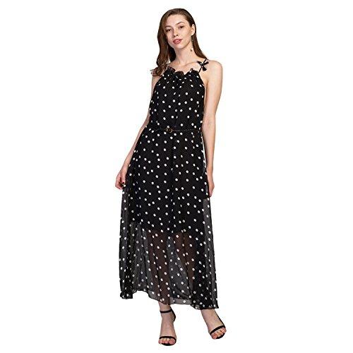 Maxi Printed Dot Beach Halter Length CHN'S Polka Full Sleeveless Dress Chiffon Women TU57f
