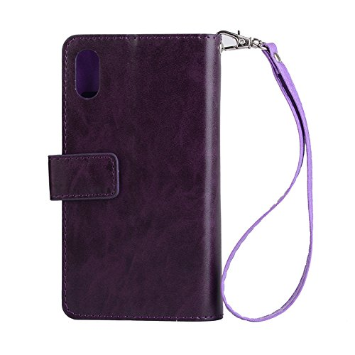 iPhone XR Leather Case,Zipper Card Slots Wallet Case Retro Vintage Design Money Pocket Clutch Cover Billfold Pouch Magnetic Phone Sleeve for iPhone XR 6.5 Inch(Purple)Boens