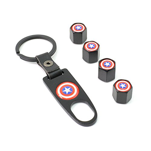 iDoood Car Tire Valve Stem Air Caps Cover + Keychain Black (Logo:Captain America)