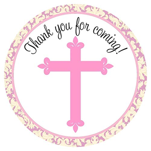 (Pink Cross Stickers - Girl Christening Baptism Holy Communion Party Favor Labels - Set of)