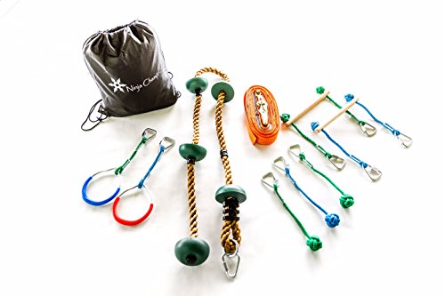 Why Choose Ninja Champ Slack Line Obstacle Course for Kids, Monkey Bar Kit with Climbing Rope, 2 Kid...