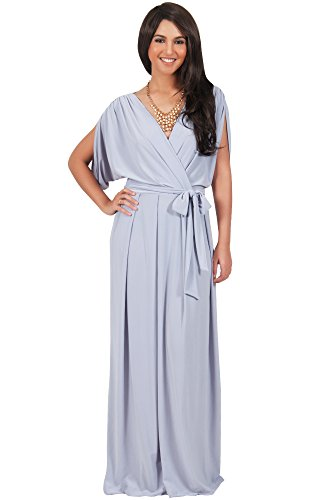 KOH KOH Womens Long Formal Short Sleeve Cocktail Flowy V-Neck Gown Maxi Dress