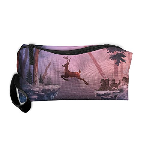 Cosmetic Bags With Zipper Makeup Bag Deer Artwork Middle Wallet Hangbag Wristlet Holder -