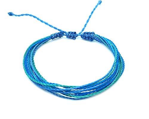 Mia Jewel Shop Multi Strand String Pull Tie Multicolored Bracelet (Light-Blue/Mint/Turquoise)