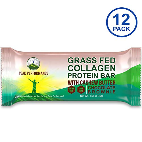 Grass Fed Collagen Protein Bar by Peak Performance. Delicious Paleo and Keto Friendly Snack with Organic Cashew Butter. Clean, Non GMO, Gluten Free Chocolate Bars. A Perfect Primal Treat 12 Pack