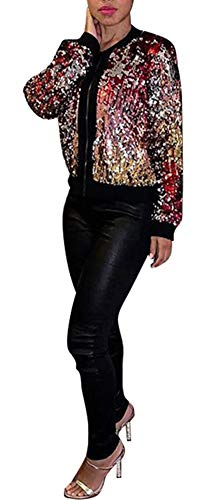 (Speedle Womens Sequin Long Sleeve Front Zip up Jacket Ribbed Cuffs Multicolored S)