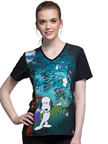 Tooniforms by Cherokee Women's V-Neck Count Snoop-ula Print Scrub Top Large