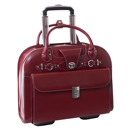Wheeled Women's Laptop Briefcase, Leather, Mid-Size, Red - EDGEBROOK | (Red Womens Briefcase)