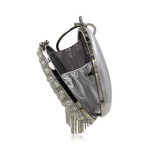 Acqua Sacchetto Silver Diamante Di Nappa Sera FFLLAS Perla Cena Tipo Bag Pack Gold Diamond Goccia Gold UEICqF
