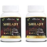 Health first Shilajit Extracts 800 Mg 120 Capsules 100% Natural & Pure Testosterone and muscle booster (Pack Of 2) (120)