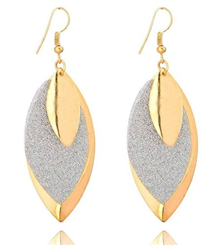 3 0  Inch Two Tone Yellow Gold   Silver Tone Teardrop Shiny   Brushed Satin Texture Dangle Drop Earrings