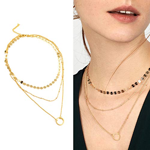 Layered Choker Necklaces Delicate Multilayer Chain Circle Pendant Necklace Fashion Jewelry Set Gift for Women ()