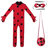 YiZYiF Child Ladybug Girl Costume Marinette Cosplay Jumpsuit Eye Mask Bag Fancy Party Outfits Set Red 5-6