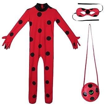 TiaoBug Kids Ladybug Costume Girls Marinette Cosplay Jumpsuit with Eye Mask Bag Halloween Fancy Party Dress up Red 9-10