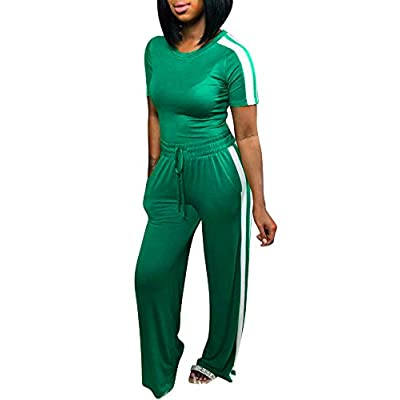 NVXIYYA Women Casual 2 Piece Outfit Striped Print Short Sleeve Shirts Wide Leg Palazzo Pants Set Tracksuit at Women's Clothing store