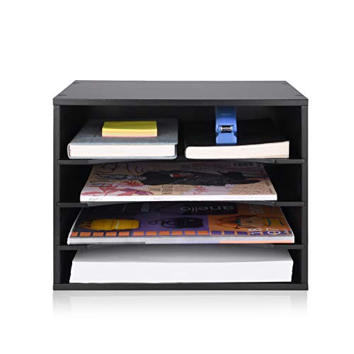 (eMerit Wood Desktop Organizer Paper Storage Letter Tray File Sorter for Home Office,Black)