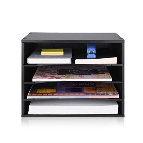 eMerit Wood Desktop Organizer Paper Storage Letter Tray File Sorter for Home Office,Black