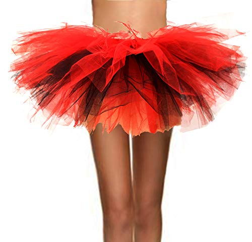 T-Crossworld Women's Classic 5 Layered Puffy Mini Tulle Tutu Bubble Ballet Skirt Black and Red -