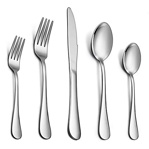 Flatware Set, E-far 20-Piece Silverware Set Stainless Steel Cutlery Set for Kitchen Hotel Restaurant, Mirror Polished & Dishwasher Safe - Service for 4 by E-far