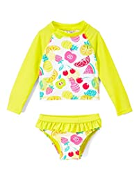 d1d4b288ac48c Ingear Toddlers & Baby Girls Swimsuit Two-Piece Tankini Rash Guard Set UPF  50+