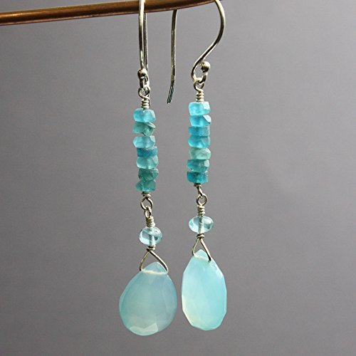 Apatite Chalcedony Earrings - Apatite and Chalcedony Earrings in Sterling Silver