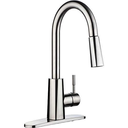 pH7 Single Handle Pull Down Sprayer Kitchen Sink Faucet Brushed Nickel Kitchen Faucets with Deck Plate and Docking System - Wide Base Single Hole Faucet
