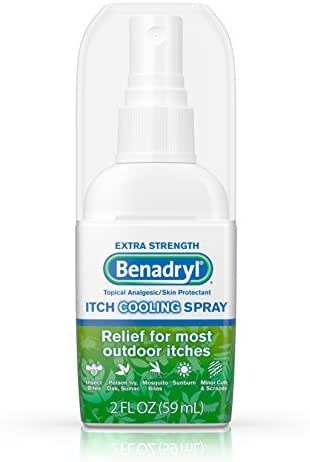 Benadryl Extra Strength Anti-Itch Cooling Spray, Topical Analgesic and Skin Protectant for Relief from Most Outdoor Itches, Travel Size, 2 fl. oz (Pack of 3)