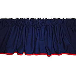 Baby Doll Bedding  Reversible Window Valance, Navy/Red
