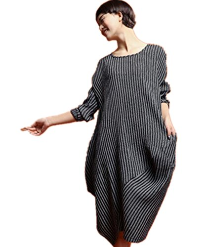 Cotton And Linen Striped Dress - 3