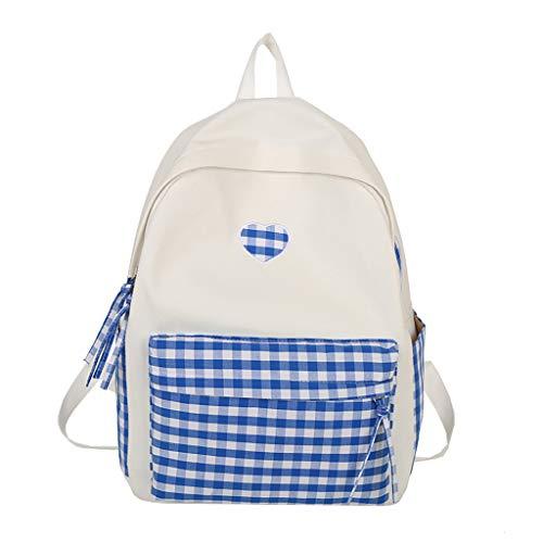 Women Canvas Laptop Backpack College Bookbag Shoulder Bag Lightweight Travel Daypacks (Blue) ()