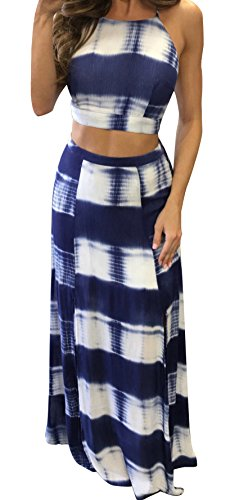 [Bigyonger Women's Crop Top Maxi Skirt Set 2 Piece Outfit Bandage Nightclub Dress (Small, Blue)] (Sexy Outfit Women)