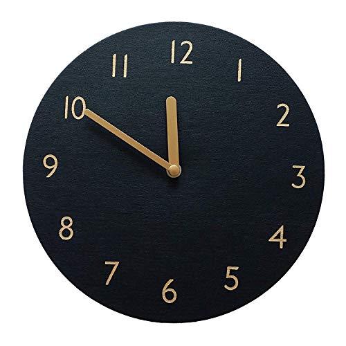 thehaki Decorative Wall Clock Silent Non-Ticking Quartz Clock PU Leather Lightweight 0.4lb Round 9 Black