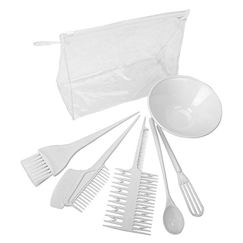 CCbeauty Hair Coloring Kit Salon Dyeing Color DIY Dressing Tools Tint Mixing Brush Comb Bowl 6 Pcs Set White by CCbeauty