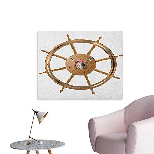 Anzhutwelve Ships Wheel Wall Sticker Decals Wooden Steering Wheel Image of Pirate Skull Seaman Lifestyle Ocean Inspired Custom Poster Brown Black W48 xL32