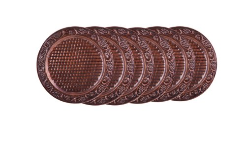 Copper Charger Plate (Old Dutch Embossed Heritage Charger Plate, 13-Inch, Antique Copper, Set of 6)