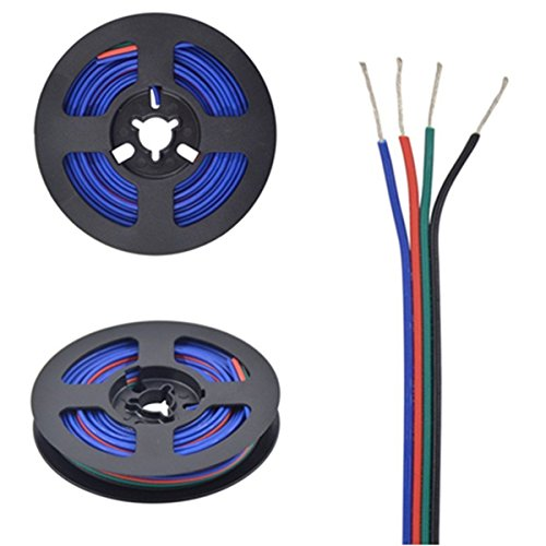 MOKUNGIT 16.4ft 4pin 22AWG RGB LED Extension Cable Antioxidant Tin Plated Copper Wire For 5050 3528 APA102 WS2801 LPD8806 LPD6803 RGB LED Strip Modules Light - Extension Antioxidant