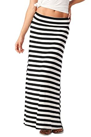 Azules Women's Stretchy Slinky Fabric Maxi Skirt,Large,Black & White Wide Stripe