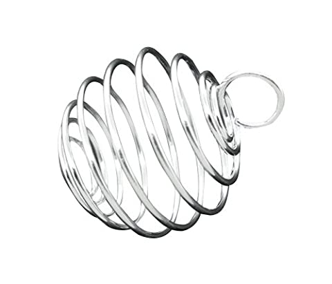Housweety 40 PCs Silver Plated Bead Cages Pendants Findings 20x25mm - Beads And Findings