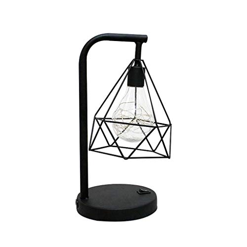 AHAYAKU Nordic Style Iron Wire LED Blub Night Light Table Lamp Home Bedroom Decor