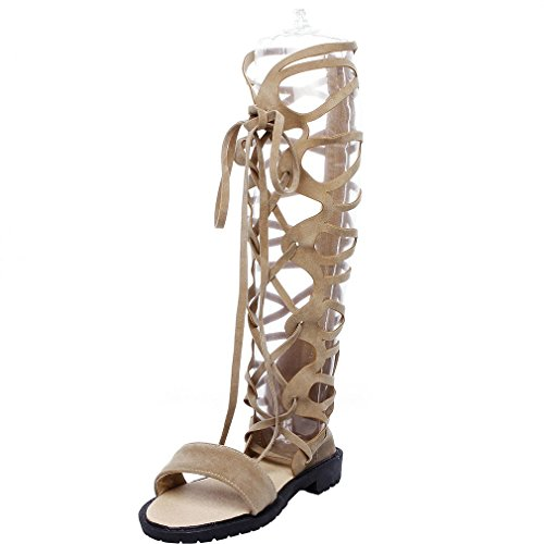 - ENMAYER Womens Gladitor Sandals with Bowknot Strap Mid Calf Shoes Beige 10B(M) US