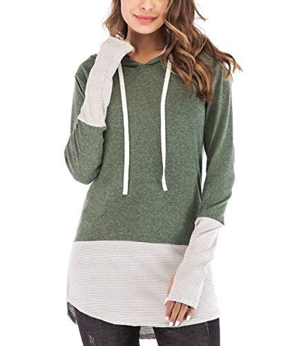 OVYNSZ Womens Casual Long Sleeve Striped Hoodie Tops Color Block Drawstring Sweatshirt Pullover Blouse