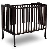 Delta Children Folding Portable Mini Baby Crib with Mattress, Dark Chocolate