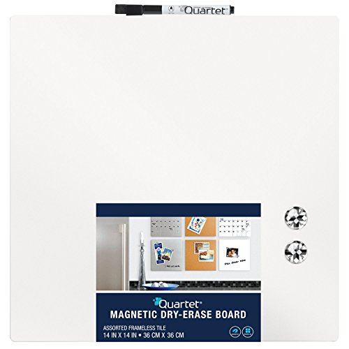 Quartet Magnetic Dry-Erase Board Tile, 14 x 14 Inches, Frameless, White Surface - Erase Squares Dry