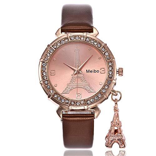 naivety Fashion Women Watches Quartz Wrist The Eiffel Tower Rhinestone Pendant Wrist Watchh Montre Femme Marque De Luxe Ladies Watch(Brown,1) ()